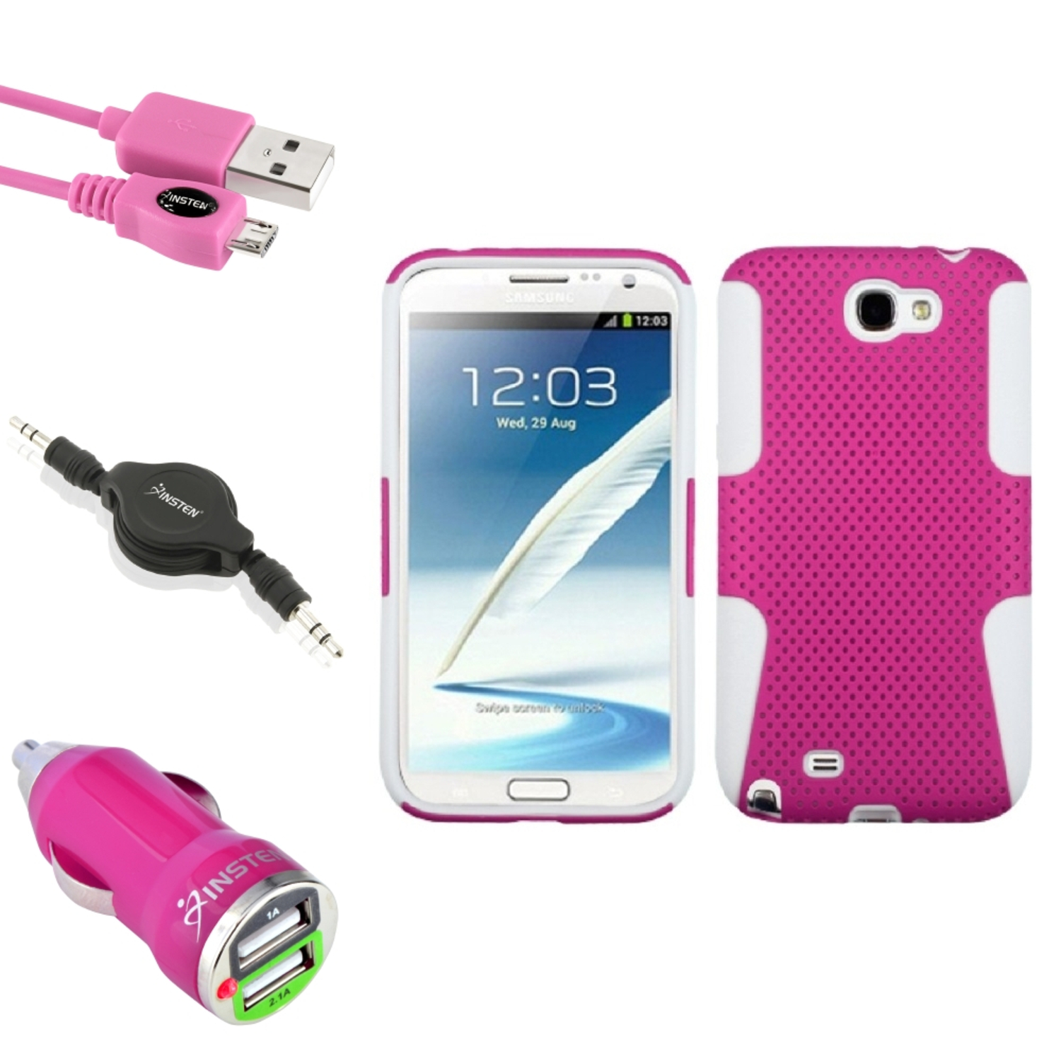Insten White/Pink Hybrid Case USB Charger Audio Cable For Samsung Galaxy Note 2 II