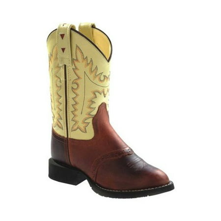 Old West Cowboy Boots Boys Girls Kids Stitching Oiled Rust CW2552