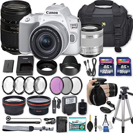Canon EOS Rebel SL3 DSLR Camera (White) with EF-S 18-55mm f/4-5 6 is STM  Lens + 70-300mm f/4-5 6 Lens + 2 Memory Cards + 2 Auxiliary Lenses + HD