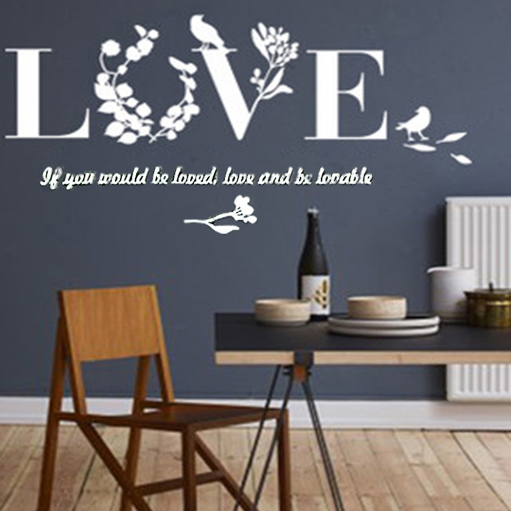 Outgeek Romantic LOVE Letters Wall Stickers Wall Stickers Art 3D Removable Mirror Stickers for Home Living Room Bedroom Decor