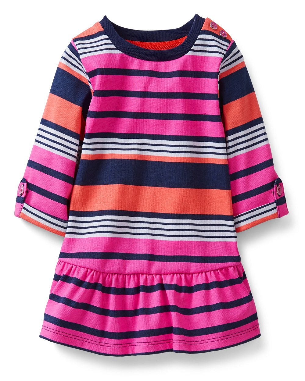 Carters Baby Girls 3//4 Sleeve Pink Blue Stripe Tunic