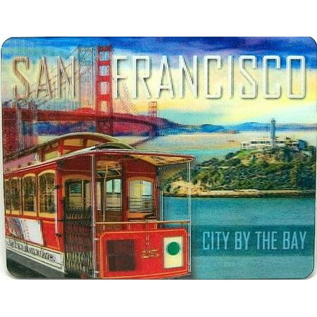San Francisco with Trolley 3D Fridge Magnet San Francisco Trolley