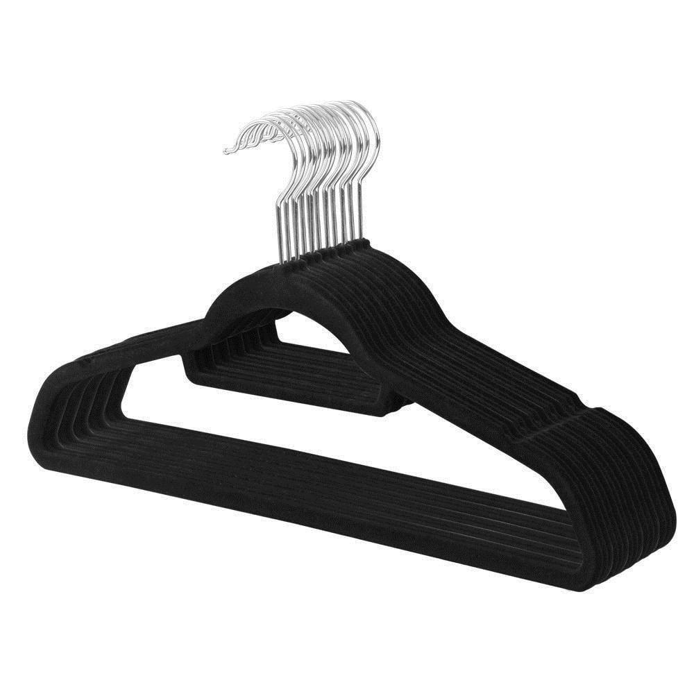 Zimtown Velvet Suit Hangers 100 pcs Heavy Duty Non Slip Black Clip Hangers Utopia Home