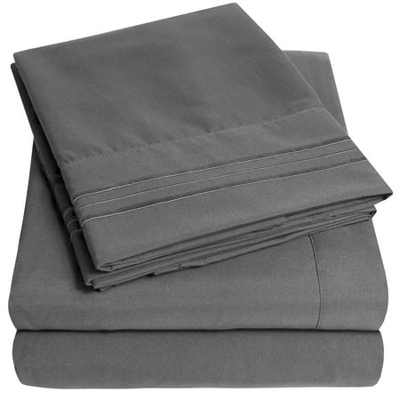 1800 Thread Count 4 Piece Deep Pocket Bedroom Bed Sheet Set Queen - Gray (Spiderman Sheets For Queen Bed)