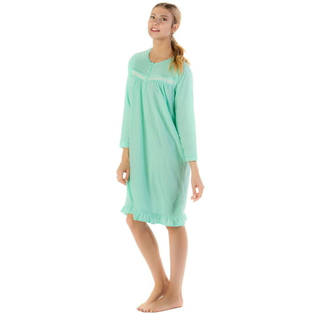 Casual Nights Women's Long Sleeve Micro Fleece Cozy Night Gown](Long Stripper Gowns)