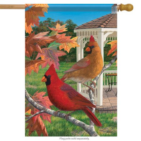 Crimson Afternoon Cardinals House Flag Fall Decorative 2 Sided 28