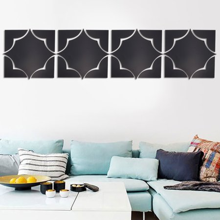 - Asewin  4Pcs Acrylic Mirror Wall Stickers Self Adhesive Wall Decal Acrylic Modern Mirror Art Mural 3D Wall Sticker For Home Living Room Bedroom Decoration