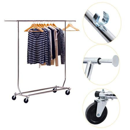 Ktaxon Commercial Single Steel Rail Clothing Garment Rolling Rack Hanger,Heavy Duty