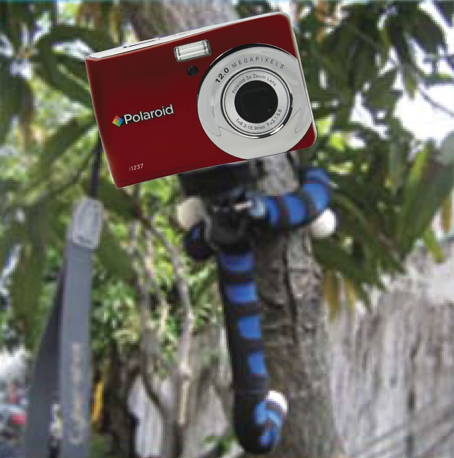 "Polaroid 12"" Flexible Tripod With Protective Grip-Foam Coating (Blue) For Digital Cameras & Camcorders"