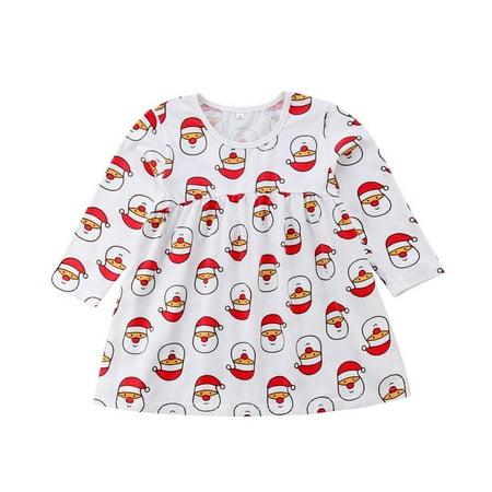 Baby Girl Santa Claus Sleeveless Dress Christmas Party Clothes Bow - Santa Claus Girl Dress