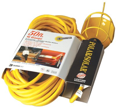 50' YELLOW POLAR/SOLAR TROUBLE LIGHT W/METAL GUA, Sold As 1 Each
