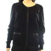 Halogen NEW Black Women's Size Small S Faux-Leather Full Zip Sweater