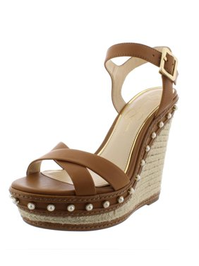 Jessica Simpson Womens Aeralin Leather Espadrilles Wedges