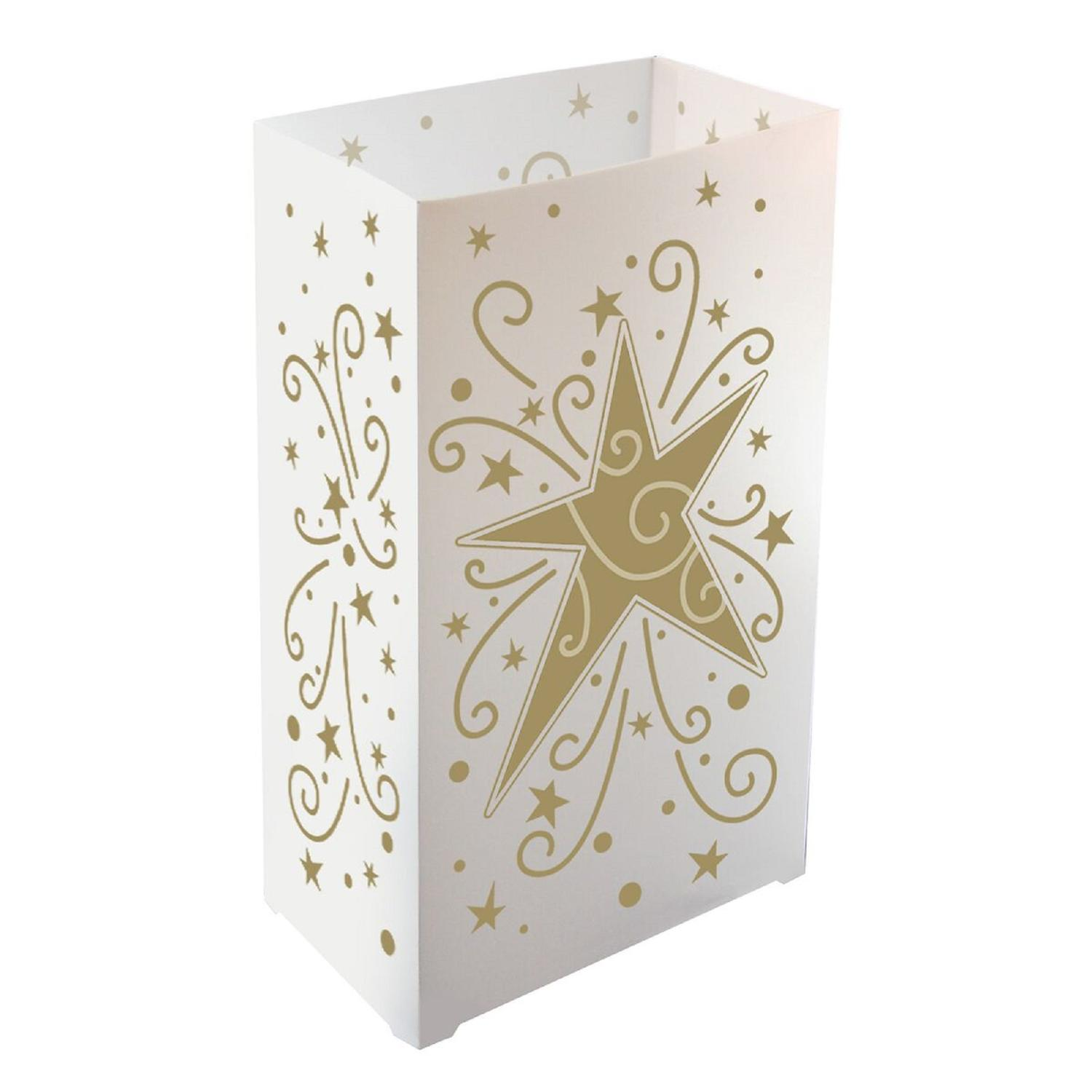 Pack of 12 Traditional Weather Resistant Gold Star and Swirl Luminaria Bags 10.5""
