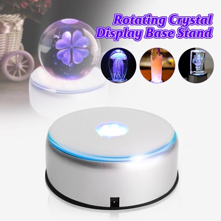 Rotating Base - Grtsunsea 110V-220V 7-LED Colorful Light Rotating Crystal Display Base Stand Holder with Adapter Silver
