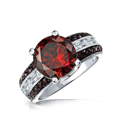 4CT Red Solitaire Simulated Ruby CZ Unique Statement Engagement Ring Side Baguette Pave Coffee Accent Silver Plated