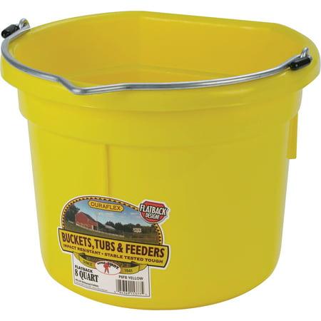 Miller Flat Back Plastic Bucket - Miller Mfg Co Inc P-Little Giant Plastic Flat Back Bucket- Yellow 8 Quart