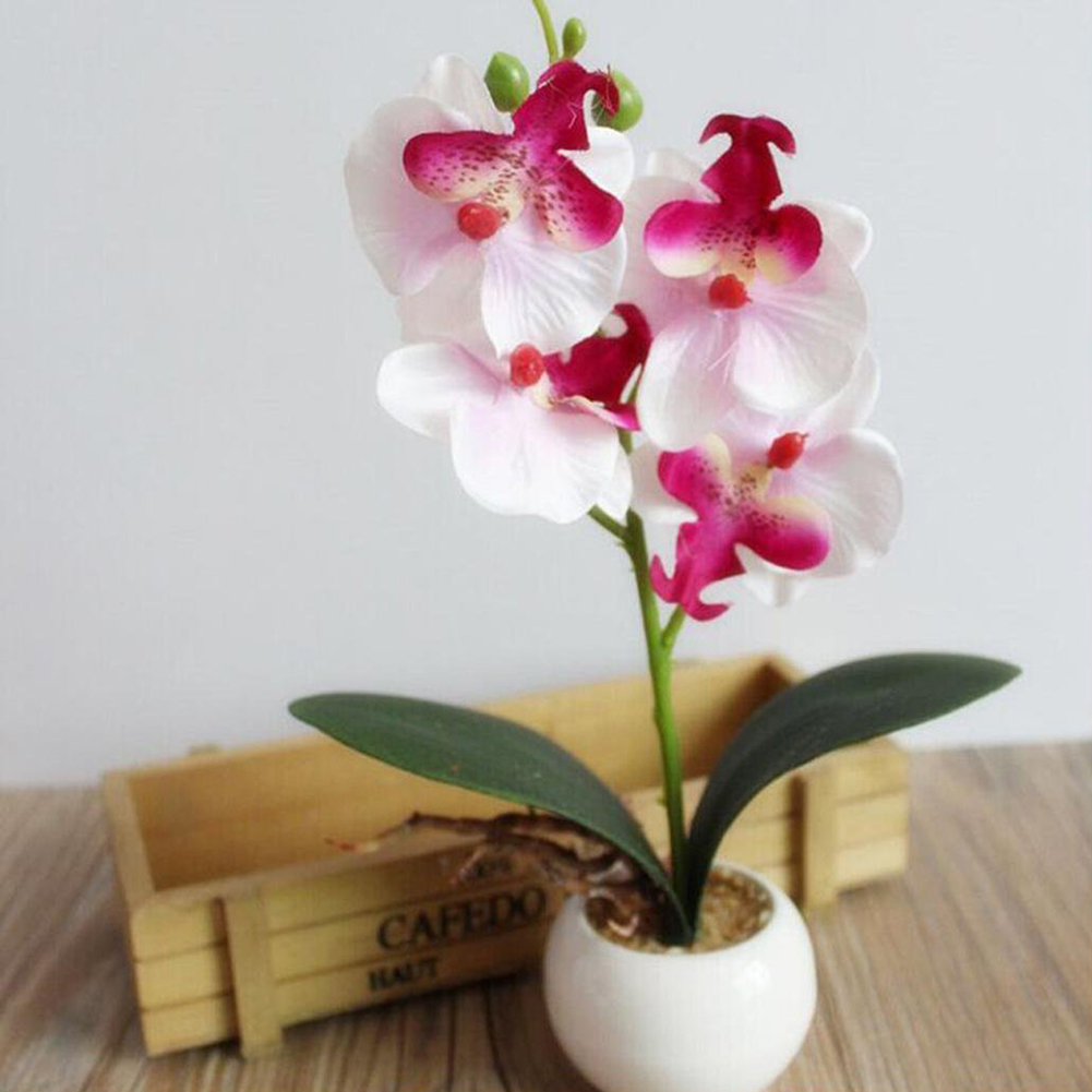 Girl12Queen Four Head Butterfly Orchid Meaty Plant Bonsai Artificial Flower Home Decoration