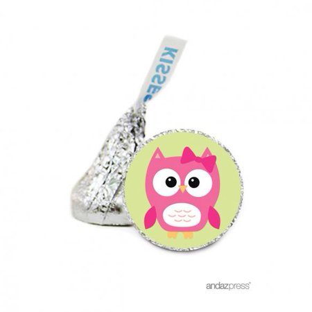 Girl  Baby Owl Hershey´s Kiss Baby Shower Stickers, 216-Pack - Owl Baby Shower Decor
