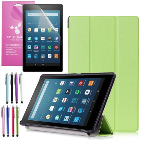 All New Amazon Fire Hd 8 Case  2016 6Th Gen   Epicgadget Tm  Auto Sleep   Wake Premium Leather Folding Folio Case For Fire Hd 8  8  Hd Display Tablet   Fire Hd 8 Screen Protector  Green