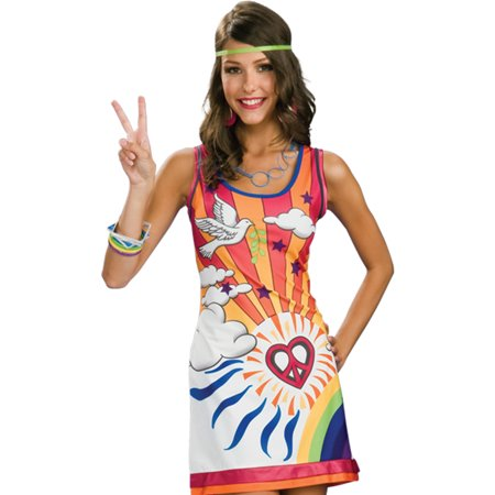 Sexy 60s 70s Hippie Mod Go Go Disco Girl Womens Halloween Costume S-L - Hippie Women