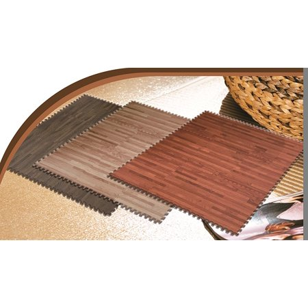 ll For You 9-PC Foam Floor Mat Foam Printed Wood Grain, Interlocking Foam Anti Fatigue Flooring Mats-3 Colors ( Walnut Brown Color)