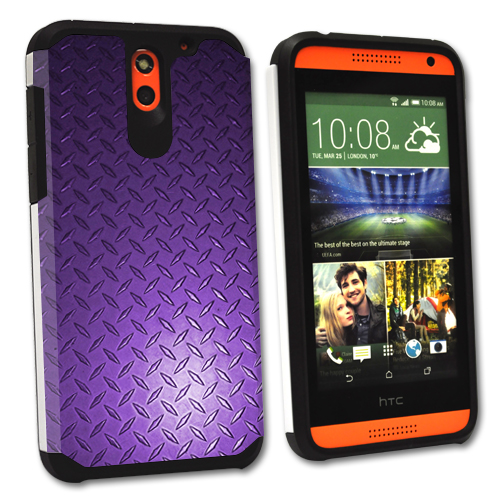 MightySkins Protective Bumper Case Cover for HTC Desire 610 hybrid tpu rubber plastic Purple Diamnd Plate