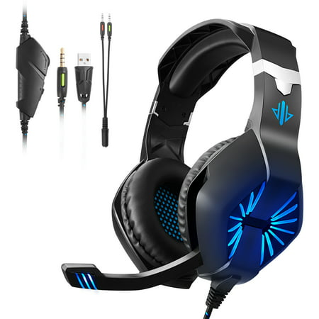 Gaming Headset with Mic for Xbox One, PS4, Nintendo Switch, PC, Surround Sound Over-Ear Gaming Headphones with Mic, LED Lights, Volume Control for Smart Phone, Laptops,Mac, iPad. Phone Line Switch