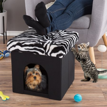 Astonishing Pet House Ottoman Collapsible Multipurpose Cat Or Small Dog Bed Cube And Footrest With Cushion Top And Interior Pillow By Petmaker Zebra Print Plush Inzonedesignstudio Interior Chair Design Inzonedesignstudiocom