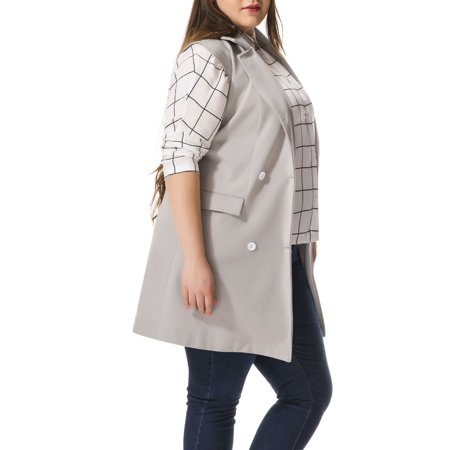 Women's Double Breasted Plus Size Back Vent Tunic Vest Gray (Size 3X)