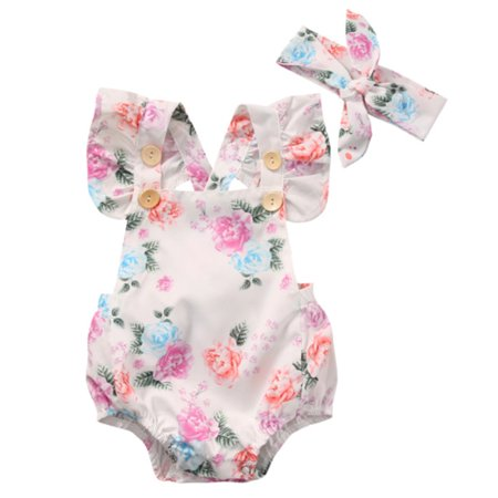 Cute Toddler Girls (StylesILove Infant Baby Girl Cute Floral Print Blackless Sunsuit with Headband 2 pcs Set (80/3-6)