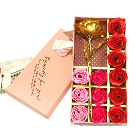 Babula Artificial Gold Foil Rose Flower 12Pcs Foam Flowers Gift Box Set For Valentines Day Mothers Womens WeddingBirthday Memorial
