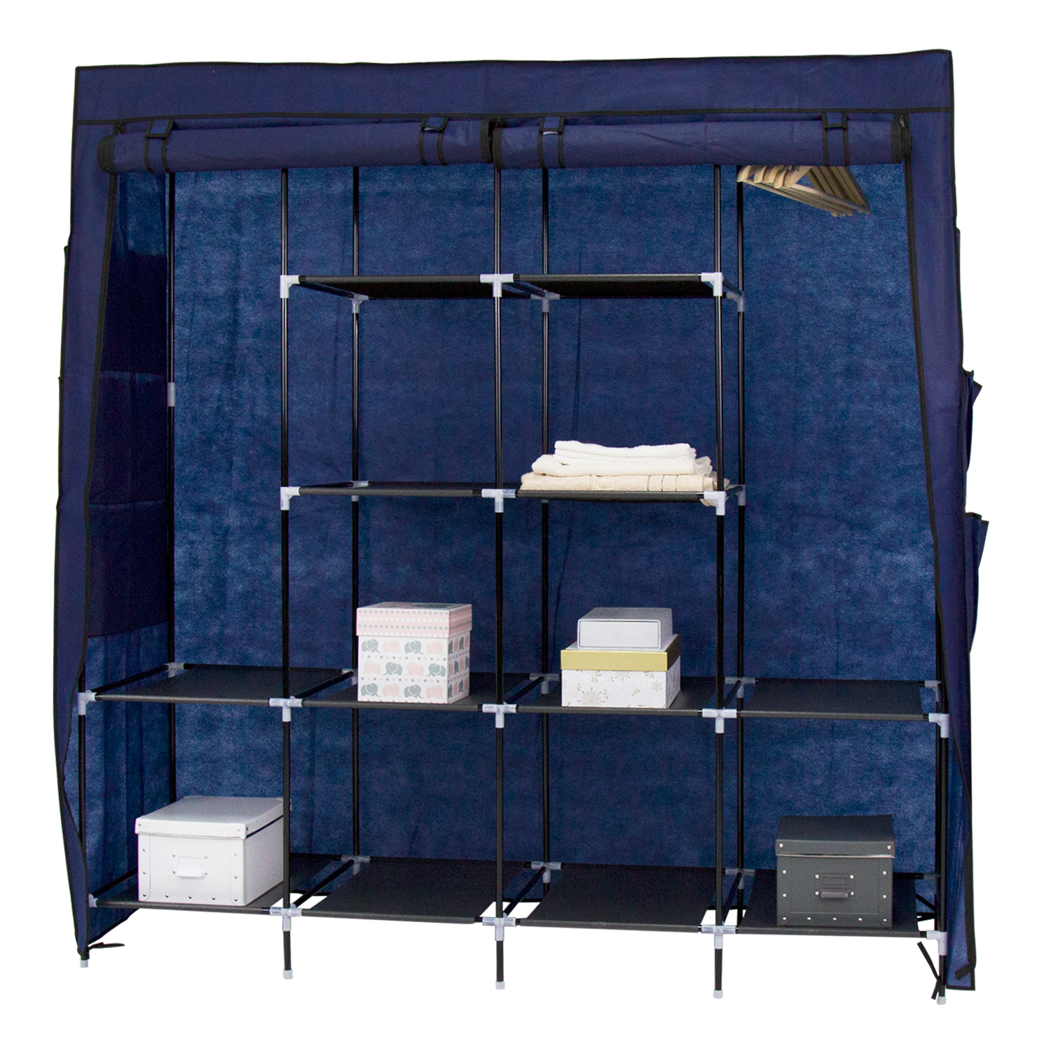 65'' Portable Closet Storage Organizer Wardrobe Clothes Rack with 4 Shelves Blue