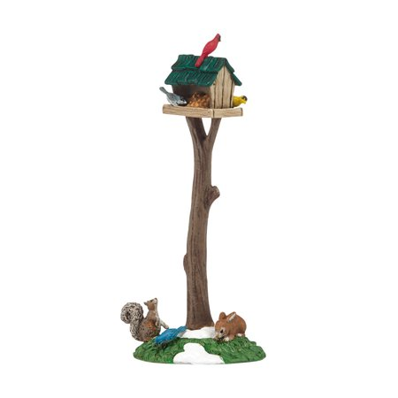 Department 56 Snow Village Woodland Bird Feeder on Tree Stump Accessory Figurine