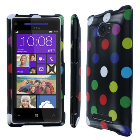 HTC 8X Case, Empire Full Coverage Rainbow Polka Dot Case for HTC Windows Phone - Rainbow Polka Dots