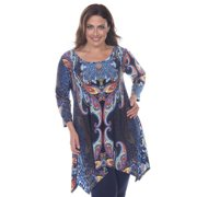 White Mark Women's Plus Size 'Marlene' Multicolor Top Tunic Blue Multi 'Marlene' Top Tunic-3XL