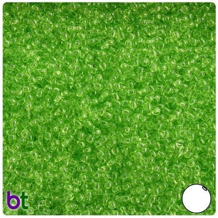 BeadTin Lime Transparent 3mm Round Plastic Beads (1oz)