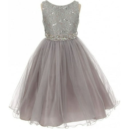Lace Decorated Sequins Rhinestone Belt Bridesmaid Flower Girls Dresses Silver Size 4-14 for $<!---->