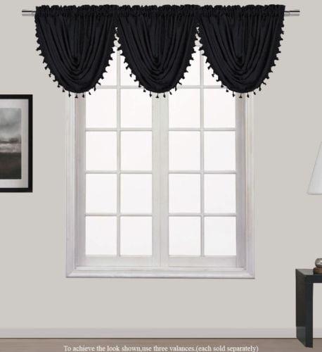 "HOLLYWOOD 1-Piece PURE BLACK   Waterfall Rod Pocket Window Valance with Decorative Trim 55""Wx 37""L"