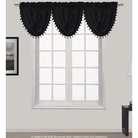 "HOLLYWOOD 1-Piece PURE BLACK   Waterfall Rod Pocket Window Valance with Decorative Trim 55""Wx 37""L"
