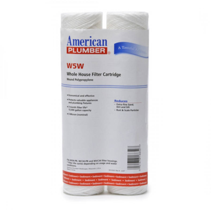 W5W American Plumber Whole House Sediment Filter Cartridge, 2pk