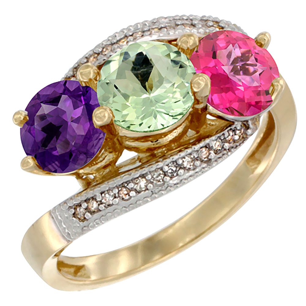 10K Yellow Gold Natural Amethyst, Green Amethyst & Pink Topaz 3 stone Ring Round 6mm Diamond Accent, sizes 5 10 by WorldJewels