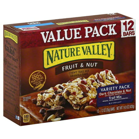 Nature Valley Chewy Granola Bar Trail Mix Variety Pack of Dark Chocolate & Nut and Fruit & Nut 12 - 1.2 oz