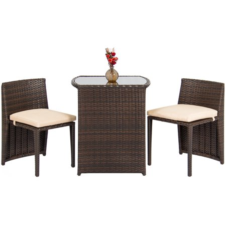 Best Choice Products Outdoor Patio Furniture Wicker 3pc Bistro Set W Glass Top Table 2 Chairs