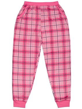 North 15 Girl's Super Cozy Plaid Minky Fleece Pajama Bottom with Waist & Bottom Rib-L1525G-Des16-10-12