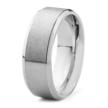 Stainless Steel Brushed Center Flat Band with Beveled Edge Ring (8mm)