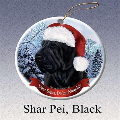 Holiday Pet Gifts Shar Pei, Black Santa Hat Dog Porcelain Christmas Tree Ornament