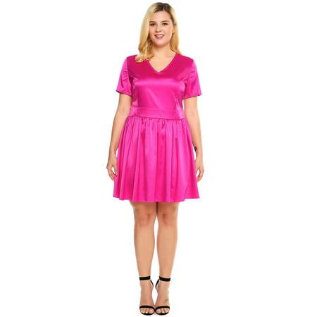 - Women Plus Sizes V-Neck Short Sleeve Solid Satin A-Line Short Dress HFON