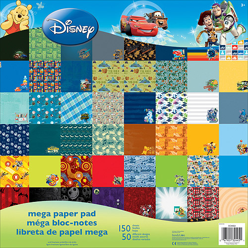 "Disney Single-Sided Mega Paper Pad 12""X12"" 150/Pkg-Boy, 50 Designs/3 Each"
