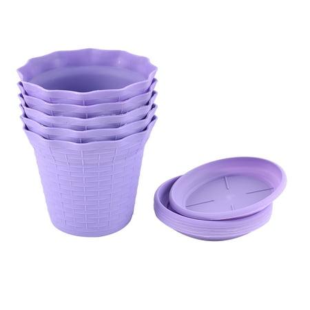 Diameter Plastic Flower Pot Plant Planter Home Garden Decor 5pcs
